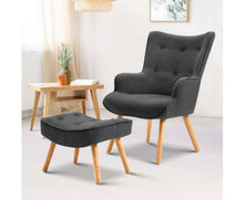 Load image into Gallery viewer, Clint Armchair + Ottoman (Charcoal)