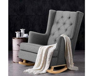 Megan Upholstered Rocking OR Stable Armchair (Grey)