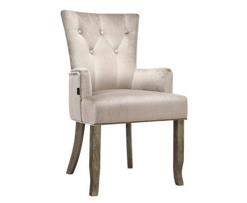 Oui-Oui French Provincial Dining Chair x 1 (Camel Velvet) [EST. RESTOCK 03/11/20]