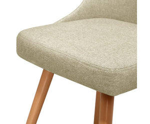 Kathleen Café / Dining Chair x 2 Fabric (Beige)