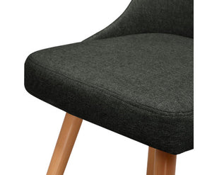 Kathleen Café / Dining Chair x 2 Fabric (Charcoal)