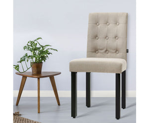 Tabatha x 2 Dining Chairs - Fabric Padded High Back (Beige)
