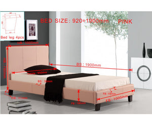Galaxy Single PU Leather Bed Frame (Pink) {No Mattress}
