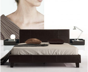 Galaxy Queen PU Leather Bed Frame (Brown) {No Mattress} $PECIAL