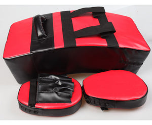 Jason Kicking Boxing Sparring Shield & Punching Pad Mitts Combo Set