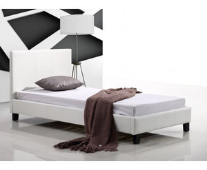 Galaxy Single PU Leather Bed Frame (White) {No Mattress}