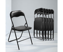 Load image into Gallery viewer, Craig Portable Padded Vinyl Folding Chairs x 6 (Black)