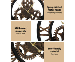 FLF Wall Clock Extra Large, Vintage / Industrial, Silent 3D - 80cm (Brown) [EST. RESTOCK 21/12/20]