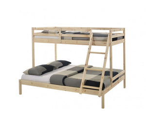 Cosy Solid Timber Triple Bunk Bed Single over Double Natural
