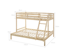 Load image into Gallery viewer, Cosy Solid Timber Triple Bunk Bed Single over Double Natural