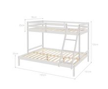 Load image into Gallery viewer, Cosy Solid Timber Triple Bunk Bed Single over Double White [EST. RESTOCK TBA]
