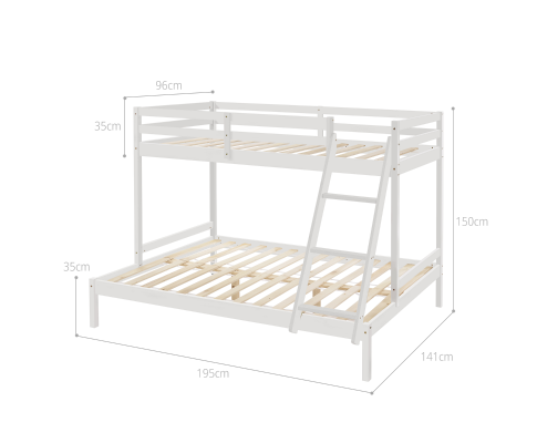 Cosy Solid Timber Triple Bunk Bed Single over Double White [EST. RESTOCK TBA]