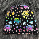 Watercolor Skulls Reversible Slouchy Beanie - Adult (L) - Ready To Ship