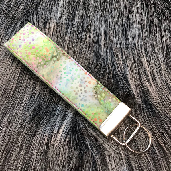 "Batik Dots - 1.25"" Wide Key Fob - Ready To Ship"