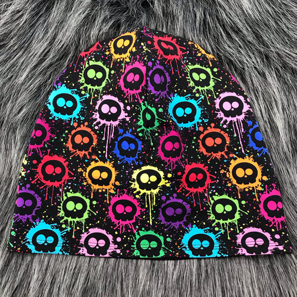 Splatter Skulls Reversible Slouchy Beanie - Made To Order