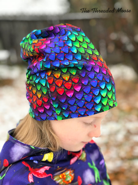 Rainbow Dragonscale Reversible Slouchy Beanie - Child/Adult (S) - Ready To Ship