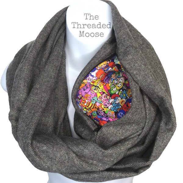 Made in the 80's infinity scarf with Hidden Zipper Pocket - Ready to Ship
