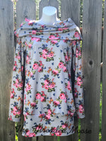 Relaxed Fit Boatneck Floral Sweatshirt - Small - Ready to Ship