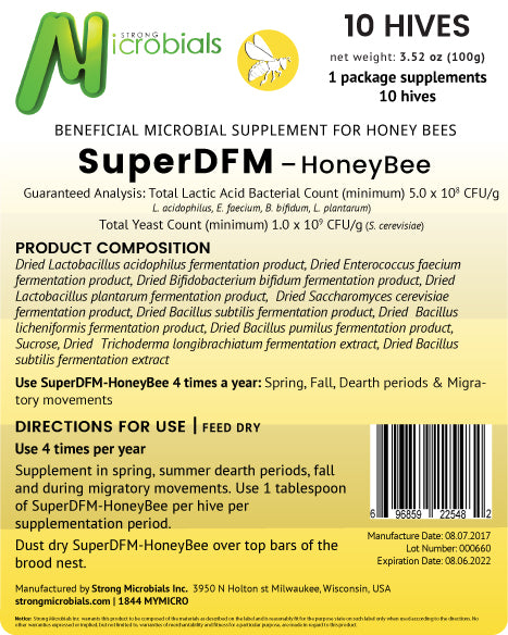 SuperDFM Honey Bee | 10 Hive Pack ($1.50/treatment)