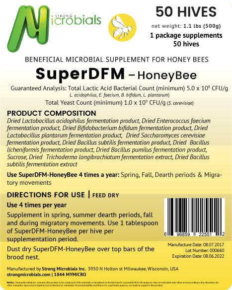 SuperDFM Honey Bee | 50 Hive Pack ($1.21/treatment)