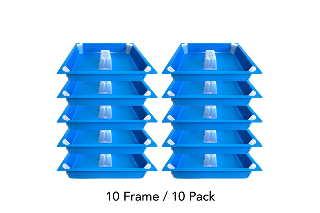 (10 Pack) 10 Frame Top Feeder blue insert, chimney cap + 4ea corner caps (No Wood)