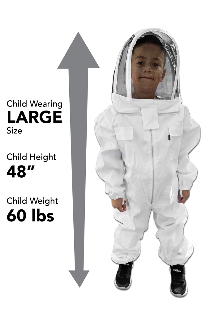 Kids / Child Beekeeping Suit . Protective Bee Wear Large and white color