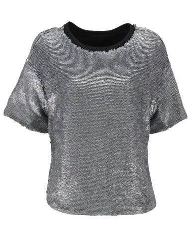 American Retro - Gloria Silver Sequin Top
