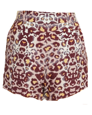 Mara Hoffman - Purple Leopard High-Waisted Shorts