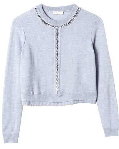 Rebecca Taylor - Crop Chain Icy Blue Pullover