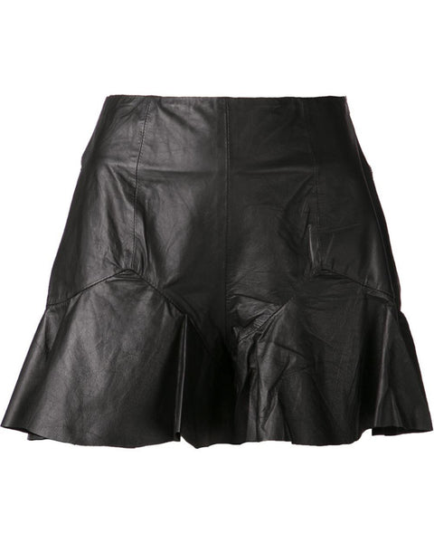 Shakuhachi - Black Leather Frill Shorts