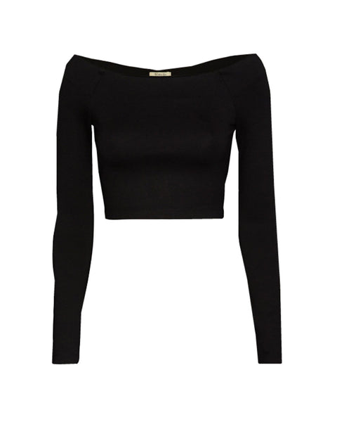 Torn by Ronny Kobo - CeeCee Black Crop Top