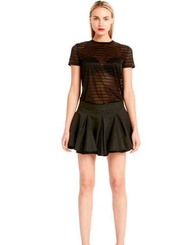 Torn by Ronny Kobo - Kat Burnout Stripes Black Top