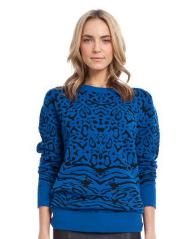 Torn by Ronny Kobo - Randy Leopard Blue Sweater