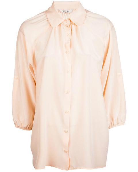 Tucker - Long Collared Melon Pink Blouse