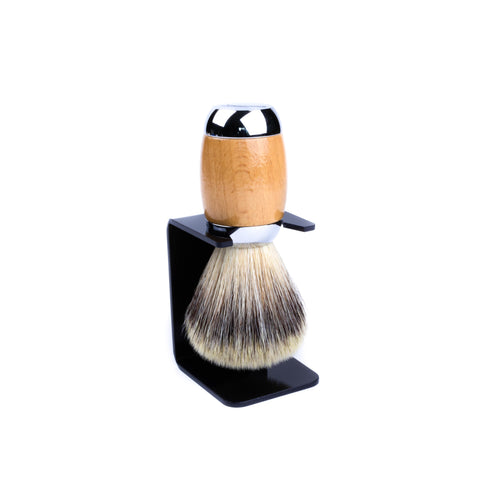 Taconic Beechwood & Chrome Handle Synthetic Bristle Shaving Brush