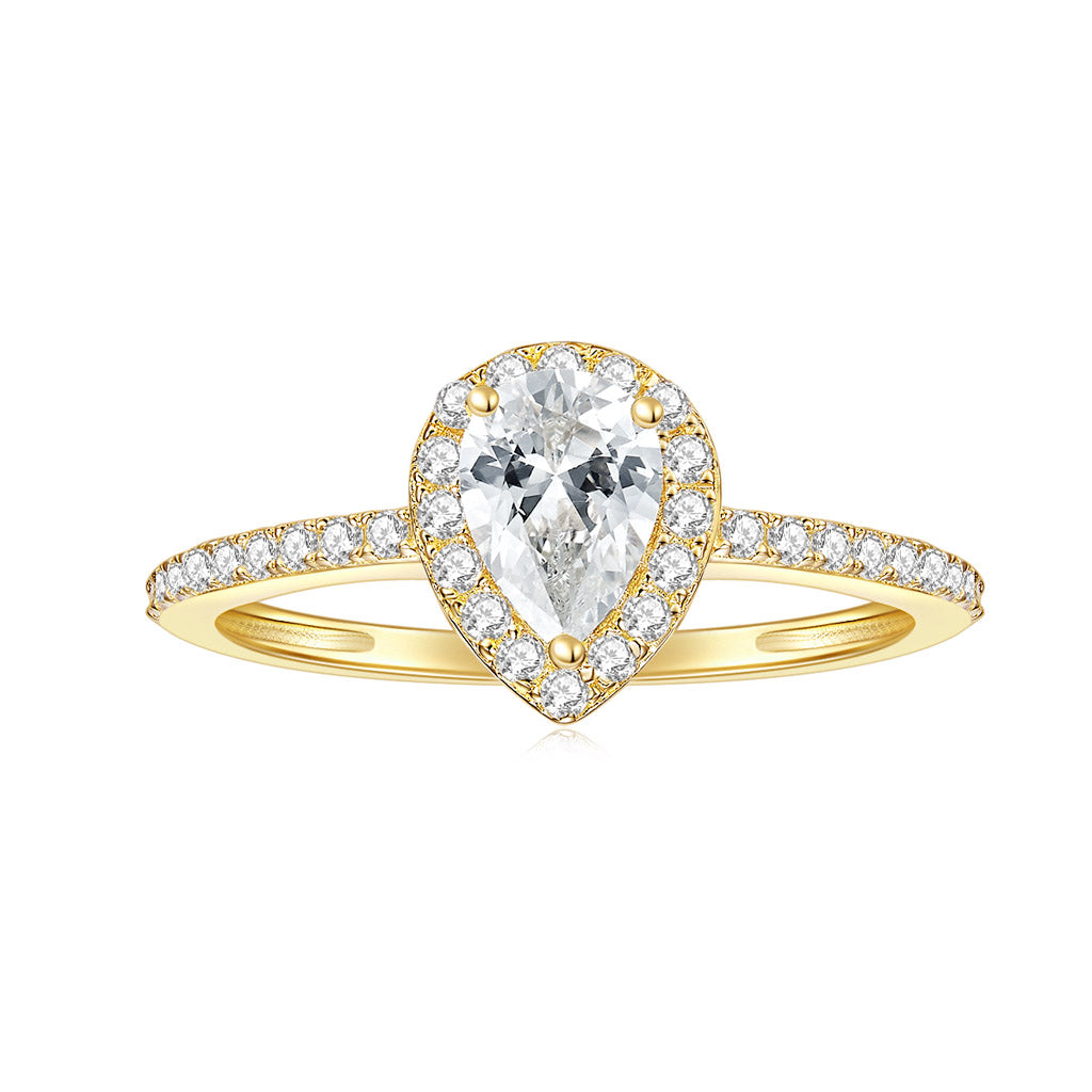 Moissanite Ring Rose Gold 1/10ct TDW Round Shape Natural Diamond Pear Frame Promise Ring