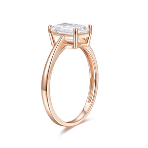 Moissanite Solitaire Peg Head Cathedral Engagement Ring 2 Carat 14k Rose Gold