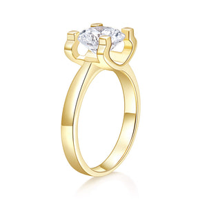 14K Yellow Gold D-E-F Color Heart Arrows Cut Moissanite Engagement Ring for Women
