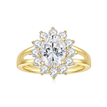 Load image into Gallery viewer, Colorless Moissanite (DEF) VVS1 (2ct Dew) 7*9MMmm 14K Yellow Gold Four Prong Wire Solitaire Engagement Ring