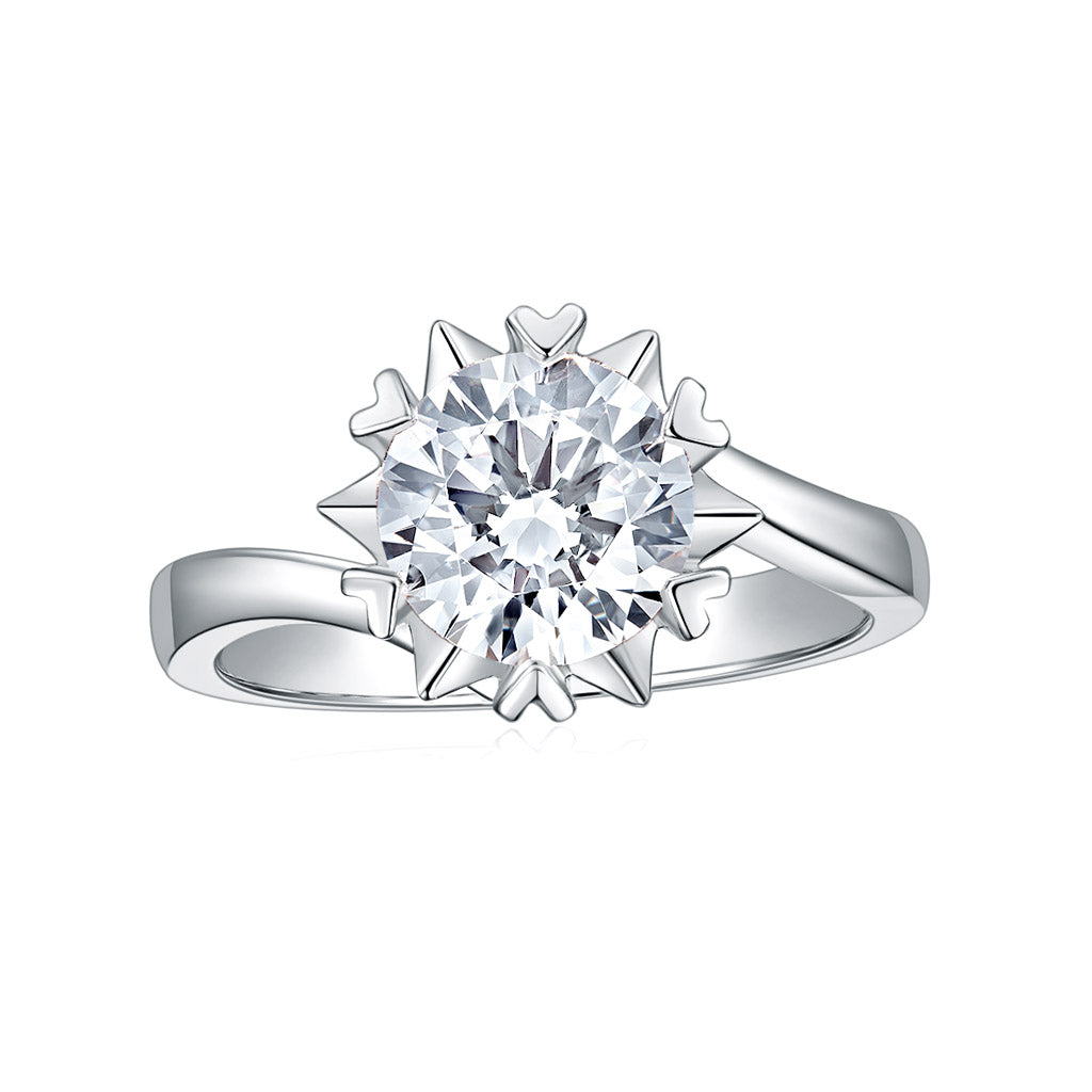 Moissanite Engagement Ring DEF Color in Solid 14k White Gold