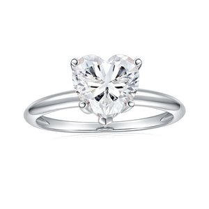 Cross Rainbow Moissanite 14K White Gold Four Prong Cathedral Solitaire Engagement Ring
