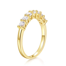Load image into Gallery viewer, 14k Yellow Gold Moissanite Engagement Ring Full Eternity Wedding Band Bezel Setting for Women