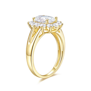 Colorless Moissanite (DEF) VVS1 (2ct Dew) 7*9MMmm 14K Yellow Gold Four Prong Wire Solitaire Engagement Ring
