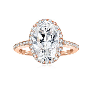 Round Colorless Moissanite Solitaire with Side Accents Engagement Ring in 18K Rose Gold 12*8MM*1-4.5ct