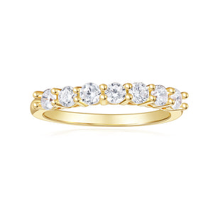 14k Yellow Gold Moissanite Engagement Ring Full Eternity Wedding Band Bezel Setting for Women