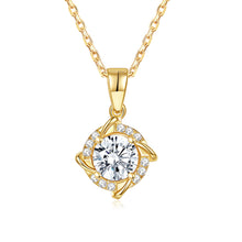 Load image into Gallery viewer, Forever Moissanite Cushion Cut Blue Tinted 14k Yellow Gold Moissanite Pendant Necklace for Women