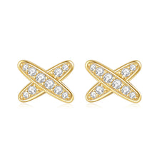 Load image into Gallery viewer, 14k Yellow Gold Moissanite Butterfly Earrings two lines with together Earring for Women