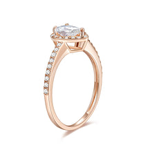 Load image into Gallery viewer, Moissanite Ring Rose Gold 1/10ct TDW Round Shape Natural Diamond Pear Frame Promise Ring