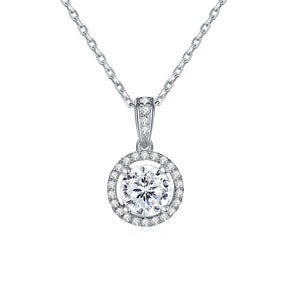 "Bezel Set Round Grown Diamond Solitaire Pendant Necklace in 14k Solid White Gold 18"" Chain (1/4 ctw, E Color, SI2 Clarity)"