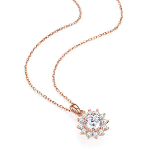 Round-Cut Moissanite Solitaire 4 Prong Pendant Necklace 1 Big Stone Bezel in Center with 12 Side Solitaire Necklace